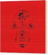Skull In Red Wood Print