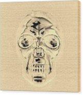 Skull In Sepia Wood Print