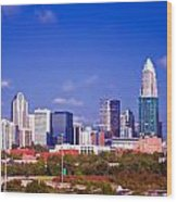 Skyline Of Uptown Charlotte North Carolina At Night Wood Print