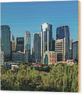 Skylines In A City, Bow River, Calgary Wood Print