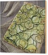 Sliced Pizza With Zucchini Wood Print by Sabino Parente