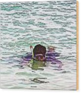 Snorkeling In The Lagoon Inside The Coral Reef Wood Print