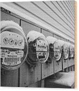 snow covered electricity meters in Saskatoon Saskatchewan Canada Wood Print