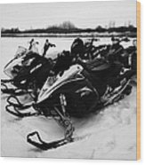 snowmobiles parked in Kamsack Saskatchewan Canada Wood Print