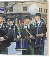 Some Bagpipers Marching In The 2009 New York St. Patrick Day Parade Wood Print