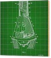 Space Capsule Patent 1959 - Green Wood Print