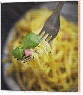 Spaghetti Carbonara Wood Print by Mythja  Photography