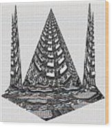 Sparkle Bnw White Pyramid Dome Ancient Arch Architecture Formation Obtained During Deep Meditation W Wood Print