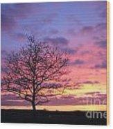 Spectacular Sunset Epsom Downs Surrey Uk Wood Print