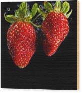 Splash Strawberry Wood Print