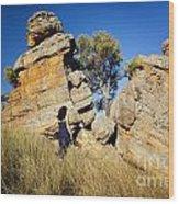Split Rocks With Woman Wood Print