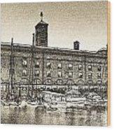 St Katherine's Dock London Sketch Wood Print