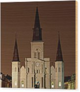 St Louis Cathedral At Night Wood Print