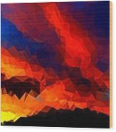 Stained Glass Sunset Wood Print