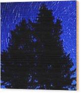Star Trails In Night Sky Wood Print