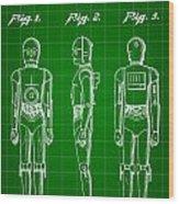Star Wars C-3po Patent 1979 - Green Wood Print