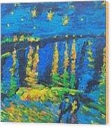 Starry Night Bridge Wood Print