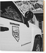 State Park Ranger Vehicles At The Valley Of Fire State Park Nevada Usa Wood Print