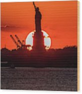 Statue Of Liberty Sunset. Nyc Harbor Wood Print