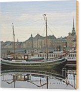 Stockholm City Harbor Sunrise Wood Print
