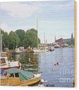 Stockholm City Harbor Wood Print
