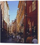 Stockholm City Old Town Wood Print