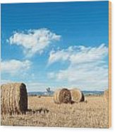 Straw Bales At A Stubbel Field Wood Print