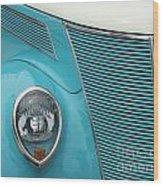 Street Car  Blue Grill With Headlight Wood Print