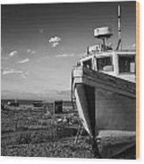 Stunning Black And White Image Of Abandoned Boat On Shingle Beac Wood Print by Matthew Gibson