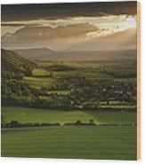 Stunning Summer Sunset Over Countryside Escarpment Landscape Wood Print