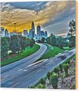 Sun Setting Over Charlotte North Carolina A Major Metropolitan C Wood Print