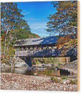 Sunday River Covered Bridge Wood Print