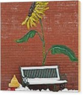 Sunflower And Snow Wood Print
