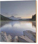 Sunrise At Trillium Lake Wood Print