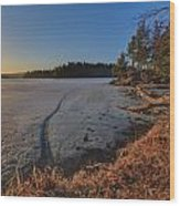 Sunrise On Millsite Lake Wood Print