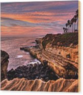 Sunset Cliffs Wood Print by Peter Tellone