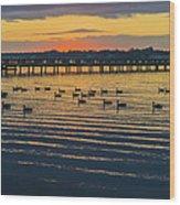 Sunset Geese Wood Print