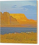 Sunset Glow Over Wahweap Bay In Lake Powell In Glen Canyon National Recreation Area-arizona Wood Print