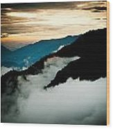 Sunset Himalayas Mountain Nepal Panaramic View Wood Print by Raimond Klavins