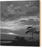 Sunset Over Colington Island On The Outer Banks Of North Carolina Wood Print