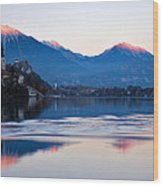Sunset Over Lake Bled Wood Print