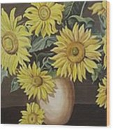 Sunshine And Sunflowers Wood Print