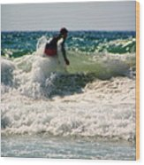 Surfing In California Wood Print