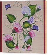 Sweet Peas And Butterflies Wood Print