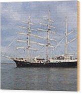 Tall Ship At Anchor Wood Print
