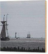 Tall Ships Wood Print
