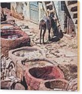Tannery In Fes Wood Print