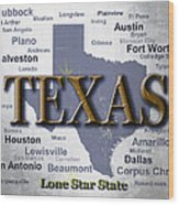 Texas State Pride Map Silhouette  Wood Print