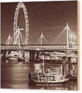 Thames River Night View Wood Print