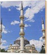 The Azadi Mosque At Ashgabat In Turkmenistan Wood Print